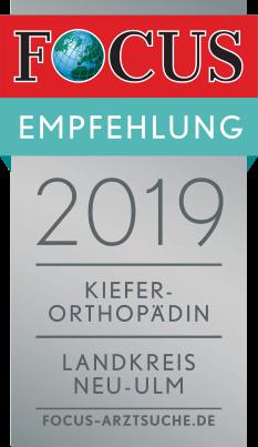 FOCUS-Auszeichnung-Siegel-2019-Kieferorthopaedie_Neu-Ulm-Dr-Eichenberg